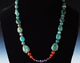 nb 27 - Turquoise Jewelry - Turquoise Beaded Necklace - Art Jewelry