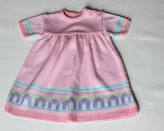 vintage dress, pink dress, girl dress, patterned dress, 70s dress,