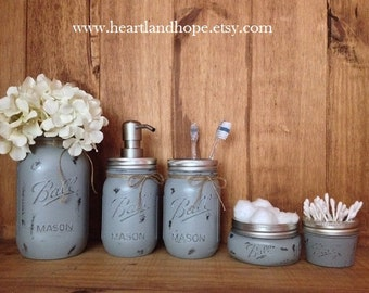 Gray Mason Jar Bathroom Set .Gray Mason Jars .Painted Mason Jars .Mason Jar Soap Dispenser .Painted and Distressed Mason Jars . Rustic Decor