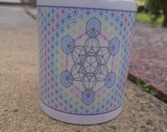 Metatron cube within Flower of Life Mug -Sacred Geometry, Contails Triangle on one side, Hexagon on other, 10 oz Mug Flower of Life Design