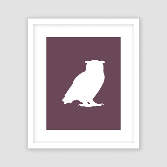 Purple Eggplant Aubergine Kitchen Wall Decor Poster: White Owl Silhouette On Eggplant Purple Print Bird Wall Art