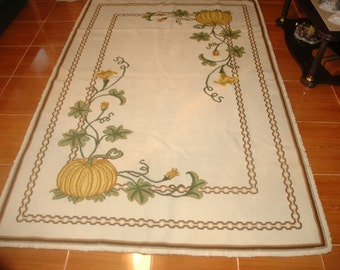 Embroidered Arraiolos Rug (traditional pumpkin pattern)