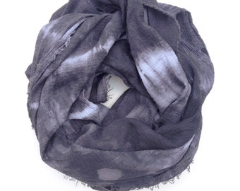 Grey Scarf, Blanket Scarf, Oversized Grey Scarf, Hand dyed Over-sized Scarf, Grey & Black scarf, Tie dyed Scarf, Black Scarf, Charcoal scarf
