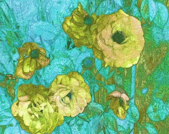 Yellow Roses on Aqua and Green - Instant Download