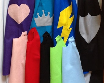 Felt capes any color with any symbol shown, superhero capes, party favors,