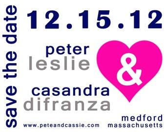 Custom Modern Ampersand Wedding Save The Date Horizontal- Sample