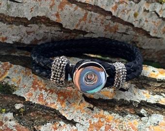 Black Rope Leather Bracelet