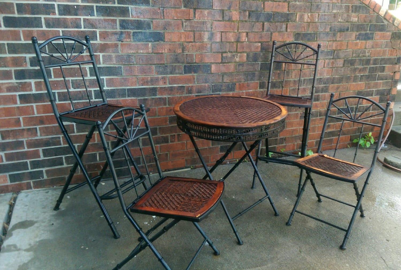 Unique Vintageantique Cast Iron W Rattan Bistro Patio Folding Table And Chairs Set Pieces on Cast Iron Bistro Patio Furniture Sets