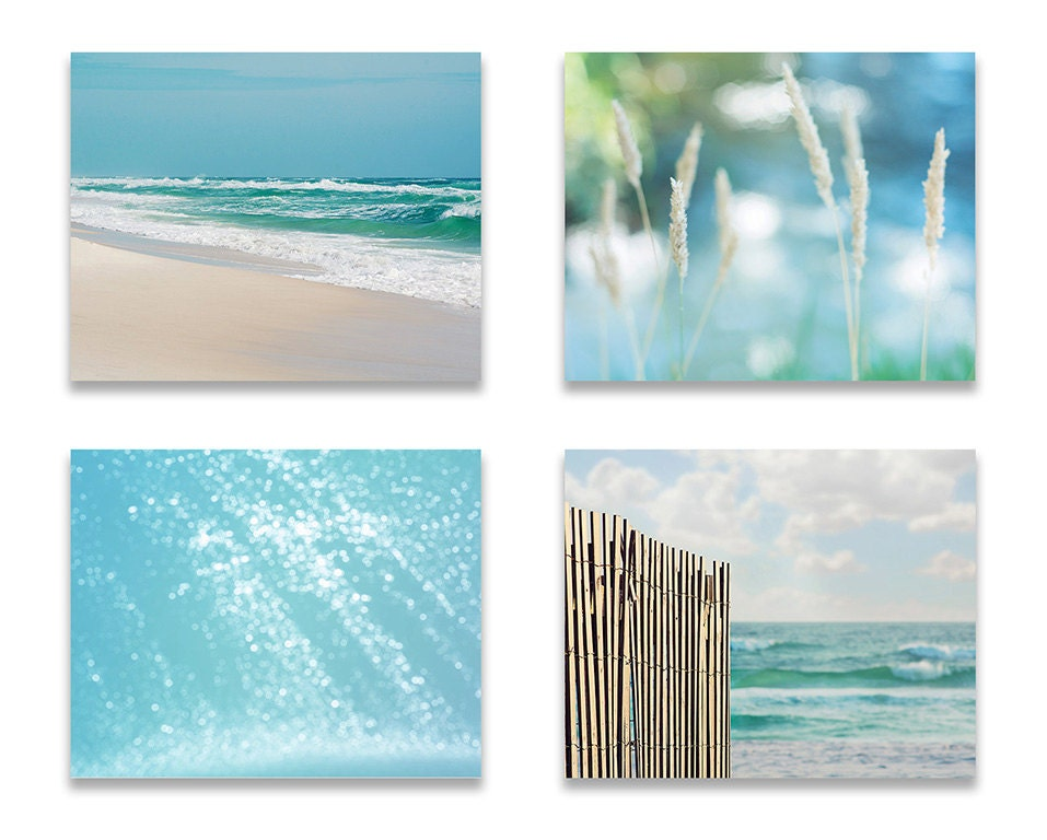 Blue Bathroom Decor Beach Wall Decor SET Of FOUR Prints Or