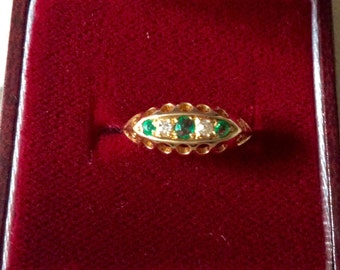 Special 7 days! Ancient EMERALDS DIAMONDS RING - Genuine stones-Yellow and White gold 18 ct - Very nice!