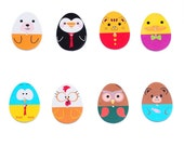 Egg shape character buttons x 16