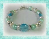 Sparkly Blue Cats-eye with Sea Foam Green Pearls Bracelet