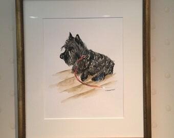 Scottie watercolor framed