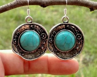 Turquoise & Silver Discs