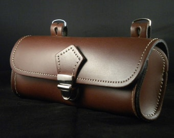 Bike Bicycle Bag Rear Saddle Oval for Cycling in 100% genuine Leather. Vero Cuoio. Made in Italy.