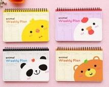 Animal Weekly Planner - schedule, notebook, weekly, planner, animal, cute, bear, kawaii, stationery