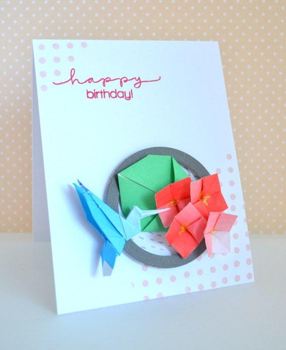 origami bird hummingbird birthday card