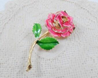 Vintage Pink Enamel Rose Trembler Brooch Pin