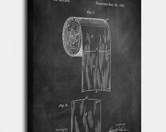 Toilet Paper Canvas Print, Toilet Paper Patent, Toilet Paper Vintage Art, Bathroom Blueprint, Print, Bathroom Art, Bathroom Decor