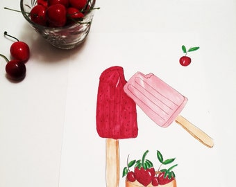 Ice Cream Illustration, Ice Cream Print, Posicle, A taste of Summer (Print)