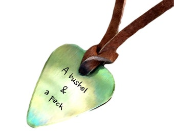 Guitar Pick Necklace - A Bushel & a Peck - Antique Distressed - Hand Stamped Necklace Leather - BFF Gift
