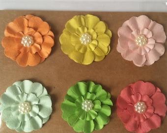Paper Flowers Embellishment 6 pc Multicolor