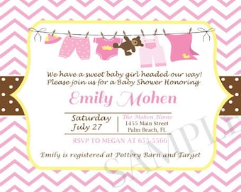 Pink and Yellow Baby Shower Invitation, Digital