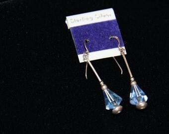 Sterling Silver Blue Crystal Dangle Drop Earrings 1980's