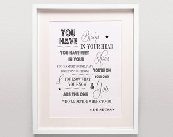 Dr Seuss Printable / You Have Brains In Your Head / Oh The Places Youll Go / Childrens Art / Childrens Print / Wall Art / Gender Neutral