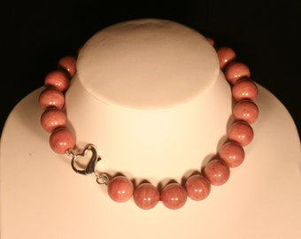 Rhodochrosite and Sterling Silver 925 necklace