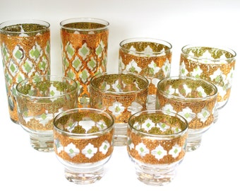 Vintage Culver Bar Ware Valencia Glasses 22K Gold and Green - Mid Century Barware Highballs, Footed Lowballs
