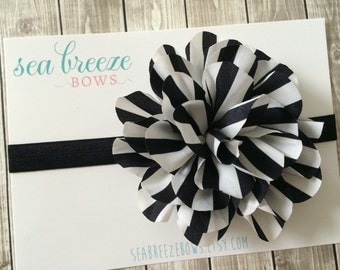 Large Black & Cream Flower Headband