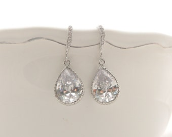 STERLING SILVER earrings with cubic zirconia teardrop pendant wedding jewelry bridesmaid gift