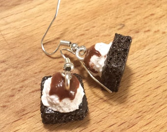 Dark Chocolate Brownie with Vanilla Ice Cream Scoop and Caramel Sauce Miniature Food Earrings