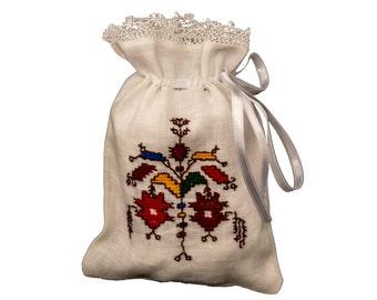 Drawstring gift sachet with white satten ribbon Made to order
