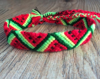 Friendship Bracelet.Handwoven.Friendship jewelry.Father's Day.Handmade.Wrap Woven Knotted Braided .Best friend present.Fruit.Neon.Watermelon