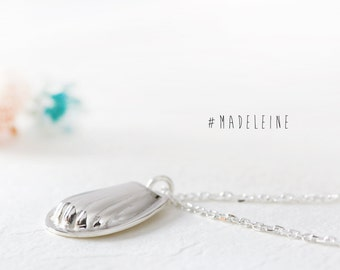 Madeleine Necklace 925 Sterling Silver Mini Food Cookie Jewelry Sweets Charm Shellfish Pendant Jewelry