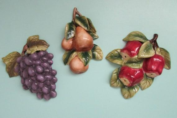 Ceramic Fruit Homco Home Interior Ceramics 3 Fruit Items Kitchen Decor