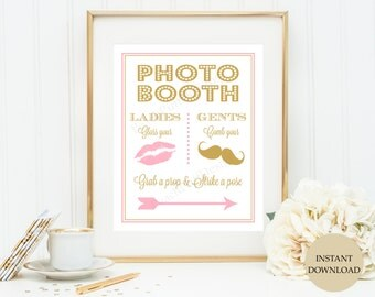 Photo booth sign 8x10 Pink and Gold (INSTANT DOWNLOAD)  - Photo booth sign printable - Photobooth sign