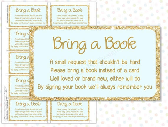Versatile image in bring a book baby shower insert free printable
