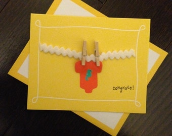 Onesie Clothesline Baby Shower Card