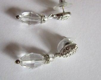 Estate Signed Swarovski Brilliant Crystal Drop Dangle Earrings