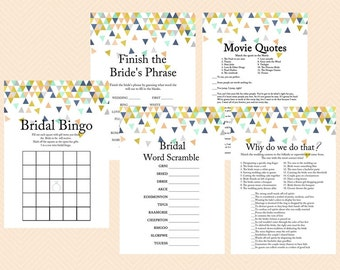 Coral and Mint Bridal Shower Games, Modern Bridal, Geometric Confetti Bridal Shower Game Printables, Bachelorette Games, Wedding Shower BS58