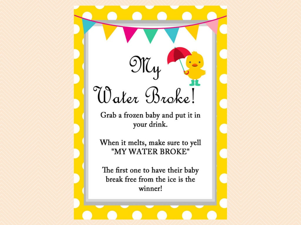 my water broke baby shower game sign neutral by magicalprintable