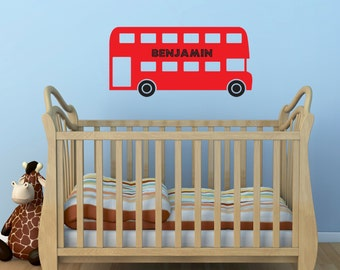 Personalised Red Bus Wall Sticker - Boys Name Sticker