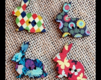Pack of 8 mismatched coloured Rabbit Buttons (# 00 9)