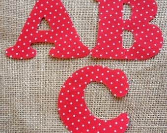 Red Polka Dot Fabric Iron on Letters- appliqué