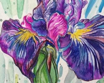 Original Watercolor Iris Greeting Gift Card