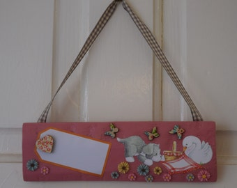 Child's door sign, name sign, nursery decor, girls bedroom decor