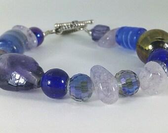 Blue Royal Blue Purple Lavender Chunk Amethyst Iridescent Faceted Glass Beaded Gemstone Handmade One-of-a-Kind Bracelet